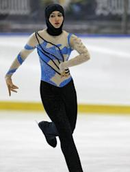 Emirati figure skater Zahra Lari performs during the European Cup, on April 12, in Canazei, northern Italy. The 17-year-old not only became the first figure skater from the Gulf to compete in an international competition but the first to do so wearing the hijab, an Islamic headscarf