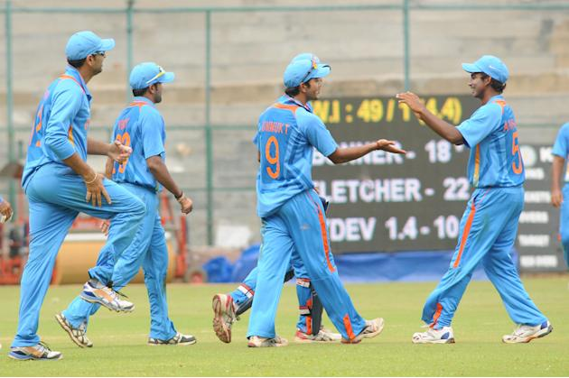 India A team players celebrates after the wicket of West Indies A team, during  India A team v/s West Indies A team unofficial T-20 cricket match at Chinnaswamy Stadium, in Bangalore on Saturday 21st