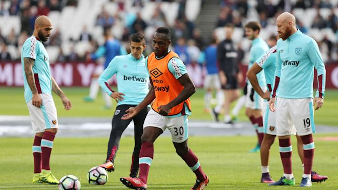 West Ham United's Michail Antonio warms up before the match
