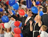 Republican vice presidential nominee Paul Ryan and wife Janna play with balloons following Mitt Romney's acceptance speech at the Tampa Bay Times Forum in Tampa, Florida, on August 30, on the final day of the Republican National Convention. The dancing started long before Mitt Romney took the stage, as jubilant Republicans launched a premature celebration, hoping they had picked the right man