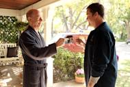 """This image released by ABC shows J.K. Simmons as Tony Shea, left, and Kyle Bornheimer as Jack Shea in a scene from the ABC comedy """"Family Tools,"""" premiering in 2013 on ABC. (AP Photo/ABC, Adam Taylor)"""