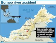 Graphic showing the area in Malaysia's Borneo island where a boat overloaded with holidaymakers capsized on Tuesday