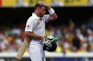 England's Bell reacts as he walks off the field after his dismissal during the fourth day's play of their first Ashes cricket test match against Australia in Brisbane