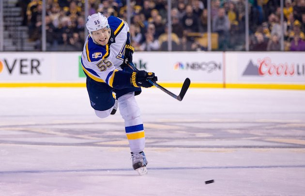 BOSTON, MA - NOVEMBER 22: Colton Parayko #55 of the St. Louis Blues shoots the puck against the Boston Bruins during the second period at TD Garden on November 22, 2016 in Boston, Massachusetts. The Blues won 4-2. (Photo by Rich Gagnon/Getty Images)