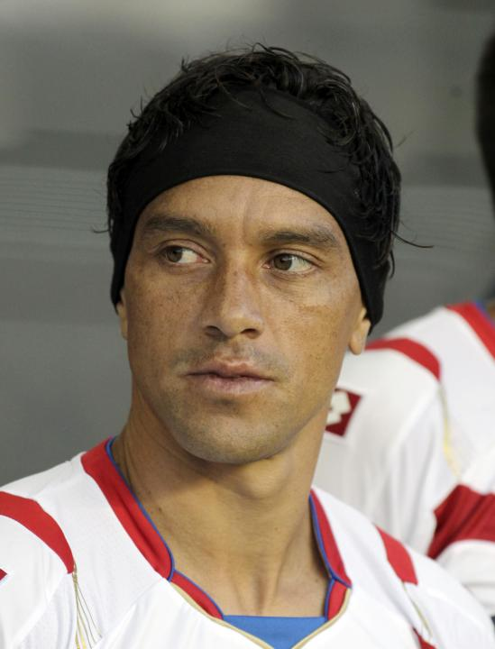 costa rica s christian bolanos looks on before their
