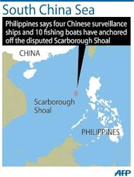 Map showing the Scarborough Shoal in the disputed South China Sea, the focus of standoff between the Philippines and China