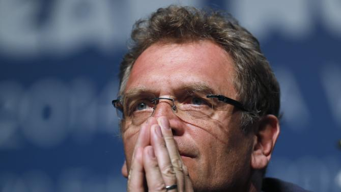 Jerome Valcke listens to a question during an announcement on the status of Curitiba as a host city for the 2014 World Cup, in Florianopolis