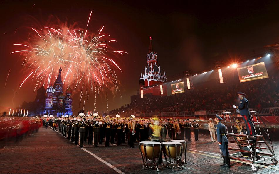 Fireworks explode above St. Basil's cathedral during a rehearsal for the