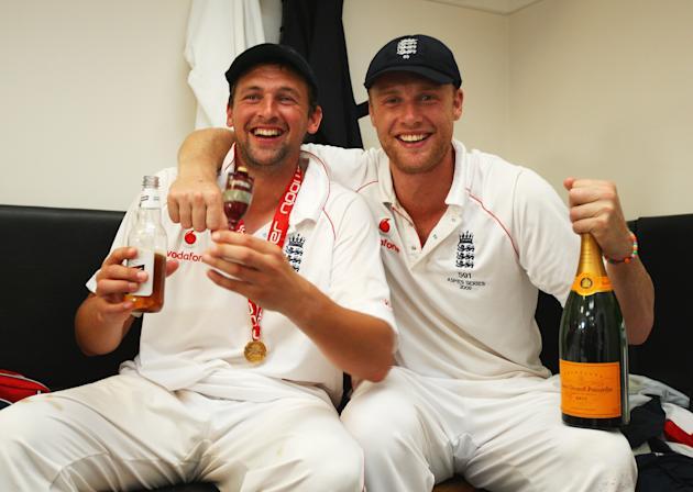 LONDON - AUGUST 23:  Andrew Flintoff (R) of England poses with Steve Harmison and the Ashes urn in the dressing room after day four of the npower 5th Ashes Test Match between England and Australia at
