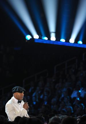 Host LL Cool J speaks during the 55th annual Grammy Awards on Sunday, Feb. 10, 2013, in Los Angeles. (Photo by John Shearer/Invision/AP)