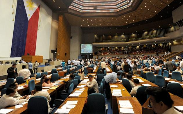 The Philippine house of representatives meet on birth control laws on August 6, 2012. The Philippine Senate is due to vote on the Reproductive Health Bill during its second reading, while the House of Representatives will vote for the final time late Monday, a congressman said