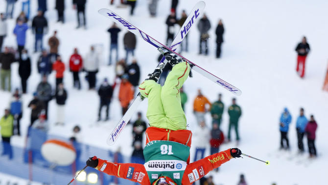 Arttu Kiramo of Finland makes his run during the men's mogul qualification event at the FIS World Cup Freestyle skiing competition in Park City, Utah