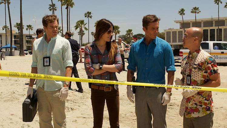 "<a href=""/baselineperson/4426701"">Michael C. Hall</a> as Dexter, Jennifer Carpenter as Debora Morgan, Desmond Harrington as Joey Quinn, and C.S. Lee as Vince Masuka in ""Dexter."""