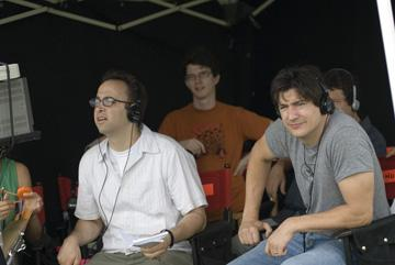 Director David Wain and Ken Marino on the set of THINKFilm's The Ten