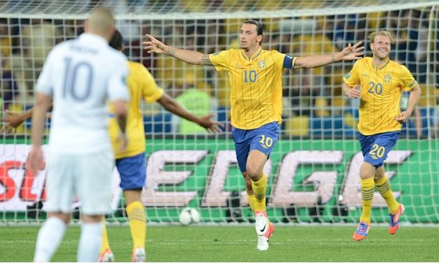 Swedish Forward Zlatan Ibrahimovic (LCR) Celebrates AFP/Getty Images