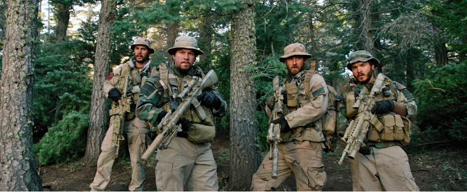 """This photo released by Universal Pictures shows, from left, Taylor Kitsch, as Michael Murphy, Mark Wahlberg as Marcus Luttrell, Ben Foster as Matt """"Axe"""" Axelson, and Emile Hirsch as Danny Dietz in a s"""
