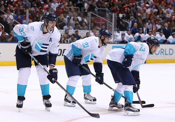 TORONTO, ON - SEPTEMBER 21: Zdeno Chara #33, Tomas Tatar #21 and Mats Zuccarello #63 of Team Europe prepares for a face-off against Team Canada during the World Cup of Hockey 2016 at Air Canada Centre on September 21, 2016 in Toronto, Ontario, Canada. (Photo by Andre Ringuette/World Cup of Hockey via Getty Images)