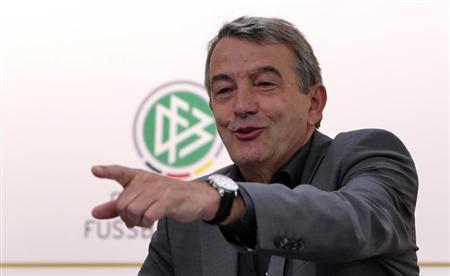 President of German soccer association Niersbach gestures during a news conference in Gdansk
