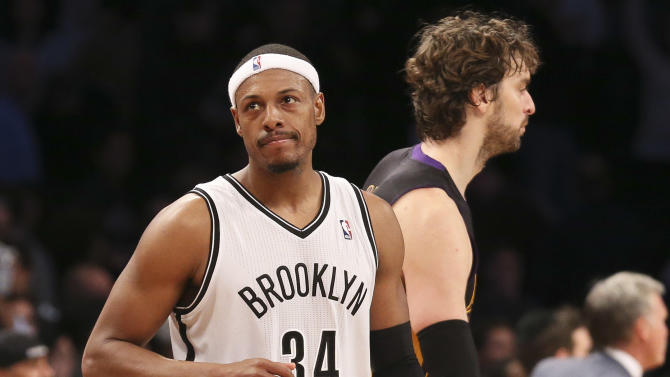 Brooklyn Nets forward Paul Pierce (34) reacts after a missed shot decided the game for the Los Angeles Lakers in the fourth quarter of an NBA basketball game at the Barclays Center, Wednesday, Nov. 27, 2013, in New York. The Lakers defeated the Nets 99-94