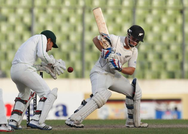 New Zealand's Watling is pictured as Bangladesh's Rahim catches the ball, during their third day of second test cricket match of the series in Dhaka