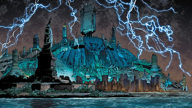 """This comic book  image released by Marvel shows an illustration from""""Age of Ultron,"""" Book One. After years of well-placed warnings that have gone unheeded, the ever-adaptive artificial intelligence that is Ultron has come out on top, turning the planet into a dystopian landscape that is wrecked beyond compare with technology at the top of the food chain. (AP Photo/Marvel)"""
