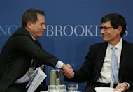 "Richard Berner (R), Director of the Office of Financial Research for the U.S. Treasury and Brian Reid (L), Chief Economist with the Investment Company Institute, appear on the panel ""Systemic Risk and the Asset Management Industry"" at the Brookings Institution in Washington December 16, 2013. REUTERS/Gary Cameron"