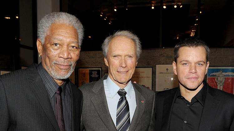 Invictus LA premiere 2009 Morgan Freeman Matt Damon Clint Eastwood