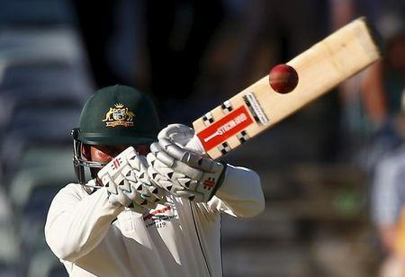 Australia's Usman Khawaja hits a delivery during the first day of the second cricket test match against New Zealand at the WACA ground in Perth, Western Australia