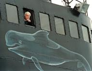 Paul Watson is seen on board of his ship, the Ocean Warrior in 2000, off Torshavn, the Faroe Islands in the North Atlantic Sea. The veteran anti-whaling campaigner, a Canadian national, was detained in Frankfurt on Sunday on charges stemming from a high seas confrontation over shark finning in 2002