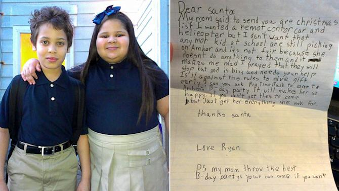 8-Year-Old Boy Asks Santa to End His Sister's Bullying