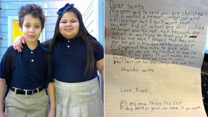 8-Year-Old Boy Asks Santa to End His Sister's Bullying