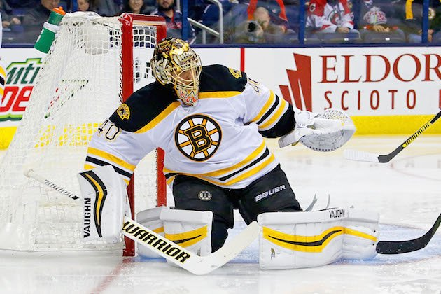 COLUMBUS, OH - OCTOBER 13: Tuukka Rask #40 of the Boston Bruins makes a save during the game against the Columbus Blue Jackets on October 13, 2016 at Nationwide Arena in Columbus, Ohio. (Photo by Kirk Irwin/Getty Images)