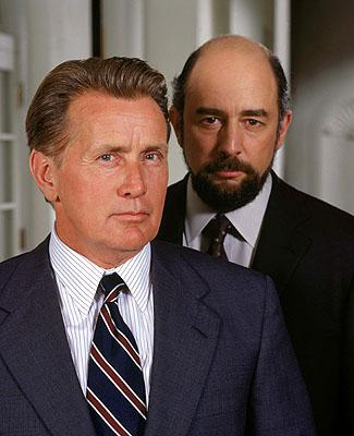 """Martin Sheen as President Josiah Bartlet and Richard Schiff as Communications Director Toby Ziegler on NBC's """"The West Wing"""" West Wing"""