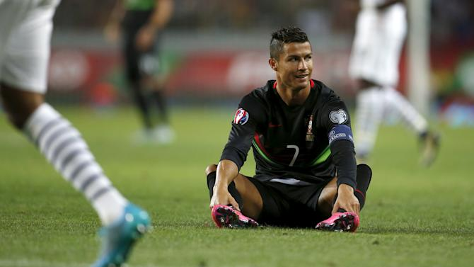 Portugal's Cristiano Ronaldo reacts during their friendly soccer match against France at Alvalade stadium in Lisbon