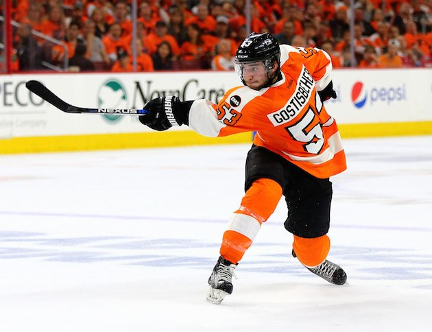 PHILADELPHIA, PA - APRIL 18: Shayne Gostisbehere #53 of the Philadelphia Flyers takes a shot in the second period against the Washington Capitals in Game Three of the Eastern Conference First Round during the 2016 NHL Stanley Cup Playoffs at Wells Fargo Center on April 18, 2016 in Philadelphia, Pennsylvania.The Washington Capitals defeated the Philadelphia Flyers 6-1. (Photo by Elsa/Getty Images)