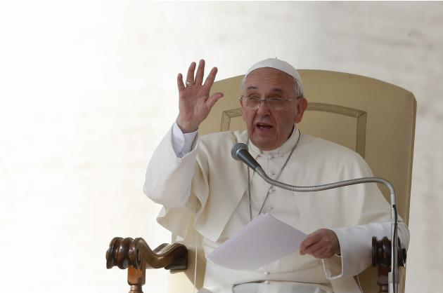 Pope Francis gestures during his Wednesday general audience in Saint Peter's Square at the Vatican