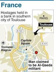 Graphic locating Toulouse where French police stormed a Toulouse bank where a self-proclaimed Al-Qaeda militant took hostages, freeing two remaining hostages unharmed and arresting the gunman, police sources said