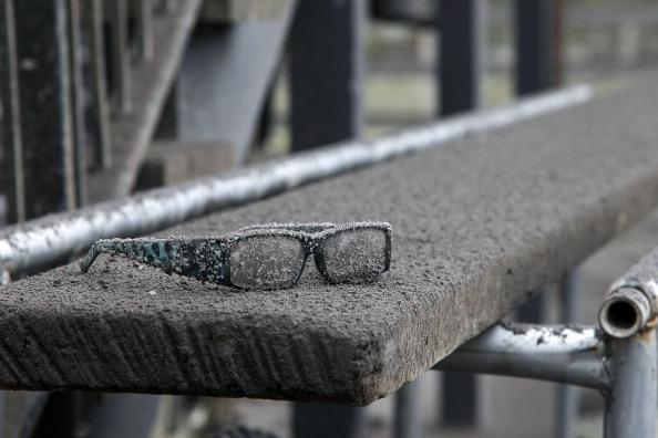 A pair of glasses are covered in ash after Mt Tongariro erupted for the first time in over 100 years on August 7, 2012 in Tongariro National Park, New Zealand. Mt Tongariro erupted intermittently from