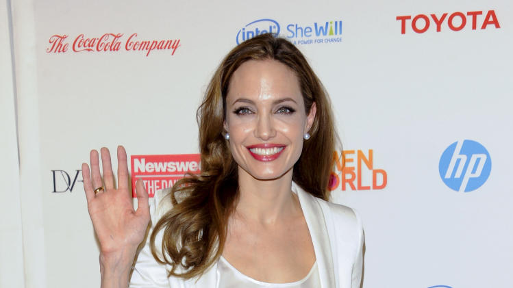 FILE - In this March 8, 2012 file photo, actress Angelina Jolie attends the Women in the World Summit 2012, hosted by Newsweek and The Daily Beast, at the David H. Koch Theater, in New York. Jolie is one of the world's leading celebrity contributor's to charity. (AP Photo/Evan Agostini, File)