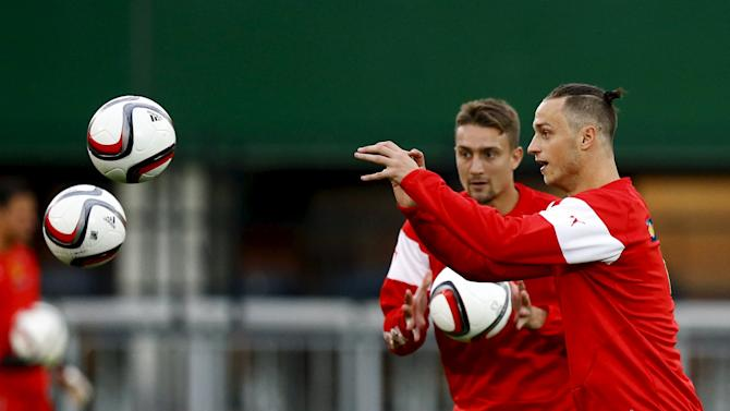 Austria's national soccer team player Arnautovich attends a training session in Vienna