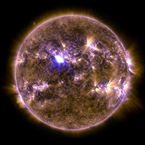 This full-disk view of the sun was captured by NASA's Solar Dynamics Observatory on April 11, 2013, during the strongest solar flare yet seen in 2013.