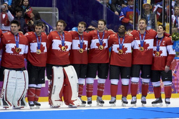 Hockey: 2014 Winter Olympics: Members of Team Canada victorious, posing with medals after winning Men's Gold Medal Game vs Sweden at Bolshoy Ice Dome. Sochi, Russia 2/23/2014 CREDIT: David E. Klutho (Photo by David E. Klutho /Sports Illustrated/Getty Images) (Set Number: X157699 TK1 R4 F123 )