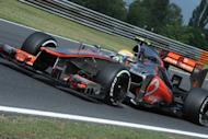 McLaren Mercedes' British driver Lewis Hamilton drives at the Hungaroring circuit on July 27, 2012 in Budapest. Hamilton led team-mate Jenson Button as McLaren topped the times during Friday morning's first free practice for Sunday's Hungarian Grand Prix