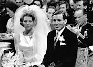 Dutch Crown Princess Beatrix and her groom, Prince Claus, during their wedding day in Amsterdam on March 10, 1966