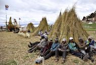 "Workers take a break from the construction of a bulrush boat or ""Thunupa"" on Suriqui island in Lake Titicaca, Bolivia, on December 2, 2012. The Limachis and other Aymara native residents of Suriqui Island have built 22 trans-oceanic reed vessels over the past decades, and if funding comes through, will build a ship they hope will sail from New York to Spain in 2014"