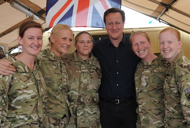 David Cameron meets female British soldiers at an operating base in Helmand Province, Afghanistan, last summer (PA)
