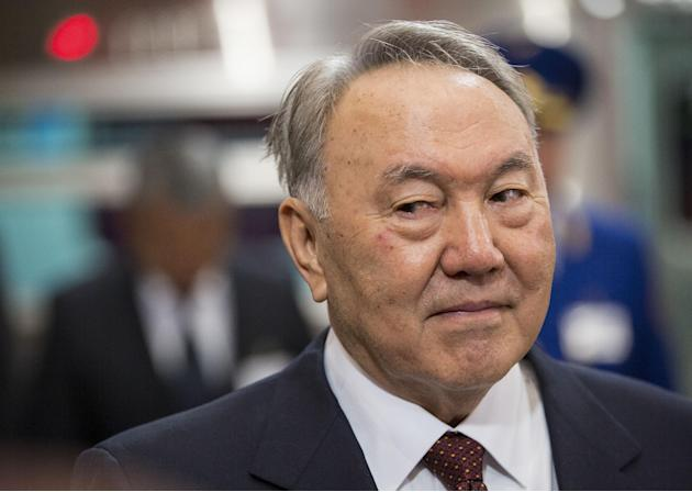 "FILE - In this Saturday, April 18, 2015 file photo, Kazakhstan's President and the main presidential candidate Nursultan Nazarbayev is seen during the opening of the ""Moscow"" subway stat"