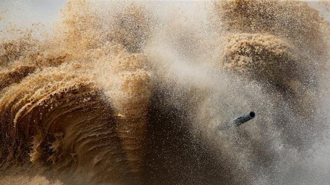 A tank's barrel is seen on the course of the Tank Biathlon competition during the International Army Games 2016 in Alabino