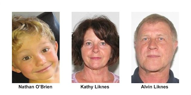 Nathan O'Brien and his grandparents Kathy and Alvin Liknes are shown in Calgary Police Service handout photos. THE CANADIAN PRESS/HO
