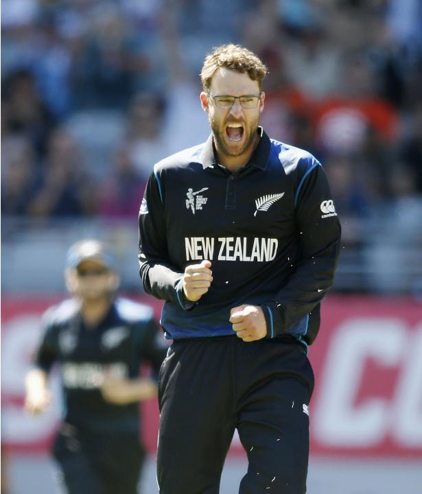 New Zealand's Daniel Vettori celebrates dismissing Australia's Steven Smith during their Cricket World Cup match in Auckland